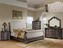 B1120-88 4 pc Sheffield II antique grey finish wood padded headboard bedroom set