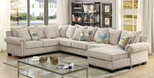 Furniture of america CM6156 3 pc skyler ivory fabric sectional sofa with nail head trim accents