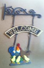 Cast iron hanging welcome roooster sign cg-1230