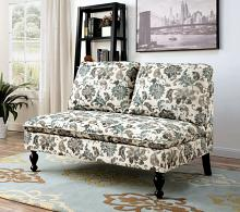 Kenzie collection floral printed padded fabric upholstered armless love seat