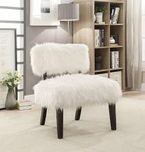 Furniture of america CM-AC6548 Pardeep white fur like fabric upholstered side accent chair