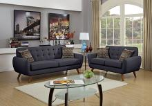 Poundex F6913 2 pc collette collection ash black faux linen fabric upholstered sofa and love seat set