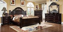 Furniture of america CM7129 5 pc. syracuse dark walnut finish classic style oval headboard poster bed queen bed set