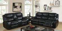 2 pc gatria collection black breathable leatherette standard motion sofa and love seat with recliner ends