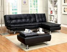 CM2677BK-2pc 2 pc Hauser II black leatherette futon sofa and chaise