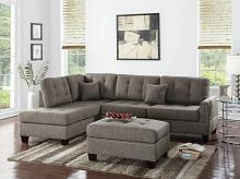3 pc Martinique II collection coffee poly fiber fabric upholstered sectional sofa with reversible chaise and ottoman