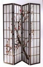 4 panel black finish wood framed room divider with plum blossom design