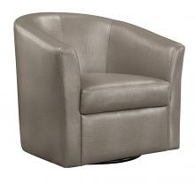 902726 Champagne leather like vinyl upholstered barrel shaped accent side chair with swivel base