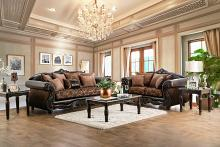 2 pc elpis collection brown fabric sofa and love seat set with wood trim