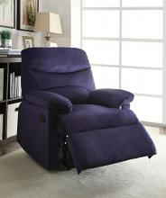 Acme 00700 Arcadia blue woven fabric recliner chair with overstuffed seats and arms