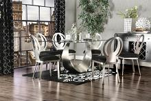 7 pc orla collection modern style satin plated metal and glass dining table with black fabric chairs