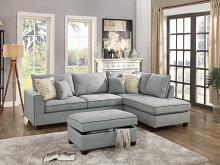 Poundex F6543 3 pc Cleveland collection light grey woven fabric upholstered sectional sofa with reversible chaise and storage ottoman