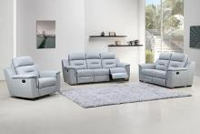 2 pc Nova collection light gray leather gel upholstered sofa and love seat with recliner ends