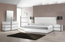 5 pc seville collection modern style queen bedroom set with white lacquer finish