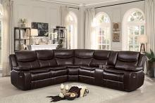 3 pc Bastrop collection brown leather gel match upholstered sectional sofa with recliners and console table
