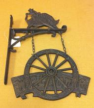 Cast iron cowboy welcome wall hanger
