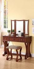 Poundex F4118 3 pc cherry finish wood make up bedroom vanity set tri fold mirror