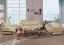 728BEI-2PC 2 pc Orren ellis aisha modern style beige genuine leather sofa and love seat set