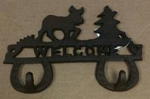 Cast iron reindeer and christmas tree double hook wall hanger