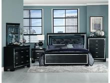 5 pc allura collection black embossed alligator finish wood bedroom set with led trim