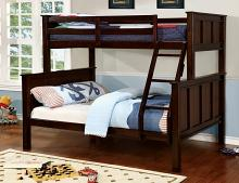 Gracie collection dark walnut finish wood twin over full bunk bed
