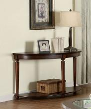 CM4131S Granvia dark cherry wood finish sofa table with beveled table top glass
