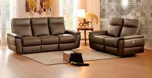 Home Elegance 8308-SL 2 pc olympia ultra modern style raisin color top grain leather power motion sofa and love seat