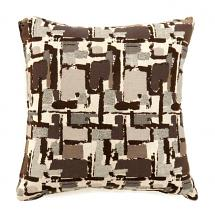 "PL6003BRS Set of 2 concrit brown colored fabric 18"" x 18"" throw pillows"