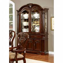 Elana collection traditional style brown cherry finish wood dining hutch and buffet cabinet