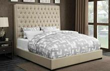 Camille collection cream fabric tufted upholstered contemporary style queen bed