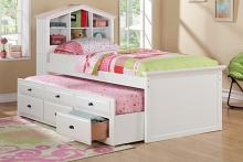 Poundex F9223 Doll house style headboard white finish wood panel design twin trundle bed with bookcase headboard and drawers