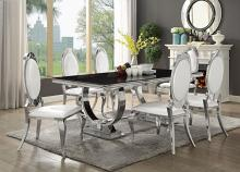 7 pc Antoine collection chrome metal base dining table set with black glass top