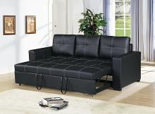 2 pc Daryl III collection black faux leather upholstered sofa set with pull out sleep area