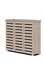Asia Direct  3343-NA Natural finish wood wide louvered design front panels wide shoe cabinet