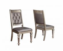 106472 Set of 2 Danette II metallic platinum finish wood metallic leatherette side chair