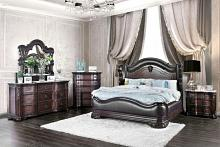 5 pc Arcturus collection brown cherry finish wood upholstered queen bedroom set