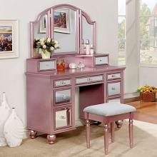 3 pc tracy collection rose gold finish wood make up bedroom vanity set
