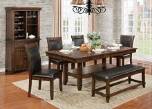 6 pc meagan i collection transitional style rustic plank brown cherry finish wood dining table set