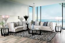 SM2217 2 pc Everly quinn shields Tegan beige plush microfiber fabric sofa and love seat