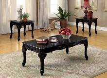 CM4914BK-3PC 3 pc cheshire black finish wood coffee and end table set