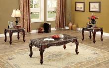 CM4487BR-3PK 3 pc Lechester dark oak finish wood coffee and end table set with faux marble top