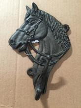 "Chibp-2974-21, cast iron black horse head coat hook, 7""x10 1/2"""