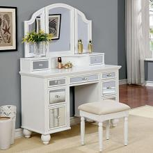 3 pc tracy collection white finish wood make up bedroom vanity set