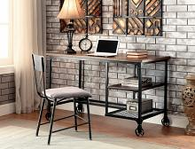 Cori collection industrial stye replicated wood top and antique black metal frame desk