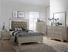 Crown Mark B4300 5 pc Lyssa collection champagne wood finish wood queen bedroom set