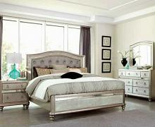 5 pc bling game collection metallic platinum finish wood mirrored accents bedroom set