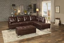 2 pc barrington collection brown vinyl upholstered sectional sofa set with chrome modern legs