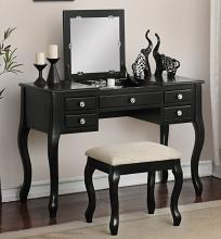 Poundex F4146 3 pc Angelica black finish wood make up bedroom vanity set flip up mirror