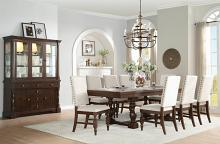 7 pc yates collection burnished dark oak finish wood dining table set with fabric padded seats and backs