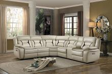 Home Elegance 8229BG-6pc 6 pc Amite beige leather gel match sectional sofa with power recliners